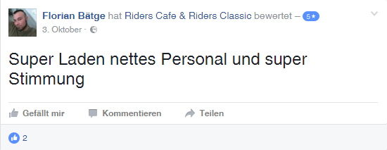 Riders Cafe - Super Laden, nettes Personal und super Stimmung
